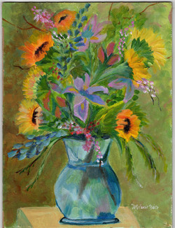 Flowers in Blue Vase acrylic 9 x 12 panel (sold)