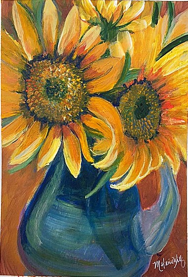 """Sun Flowers in Blue Vase"" - sold"