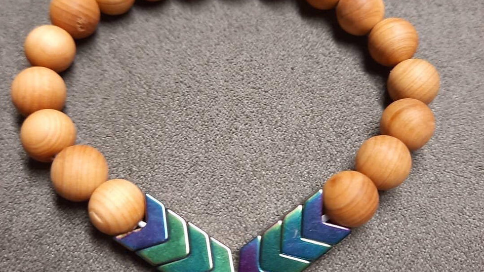 Rosewood beads & Sacred Arrow Anxiety Diffuser Bracelet.