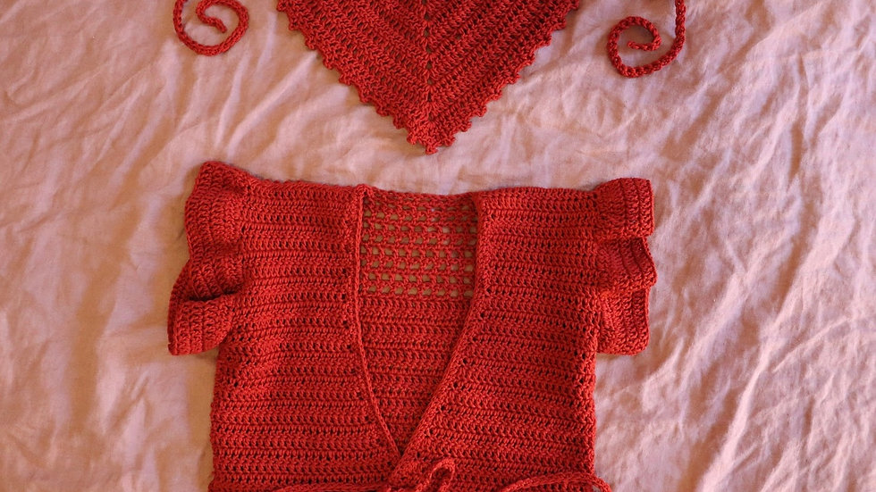 Pima Cotton wrap top & Hair Scarf Combo