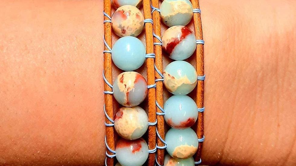 Double leather wrap bracelet.