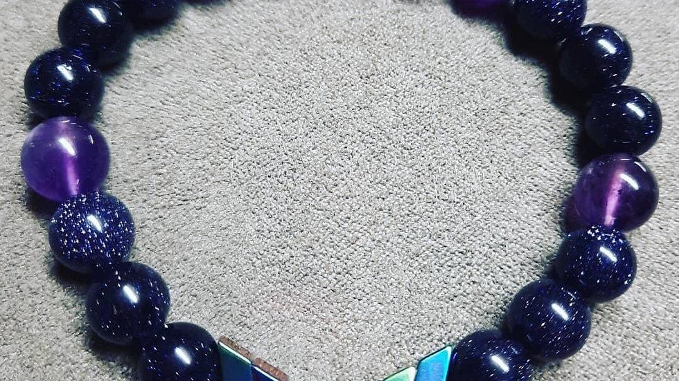 Sacred Arrows  Blue sandstone  Amethyst  8mm Bracelet