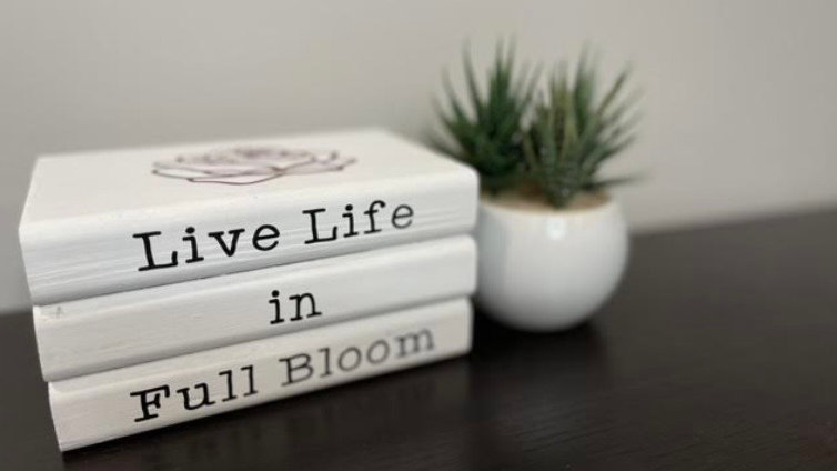Live Life Stack of Books