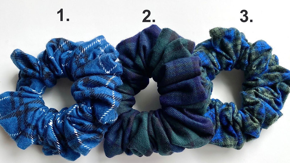 Blue Plaid Scrunchies