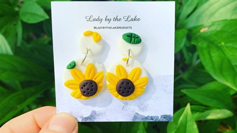 Sunflower Earrings - Polymer Clay