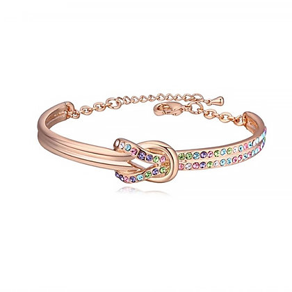 Infinity Bangle Multicolor Crystal Rose Gold