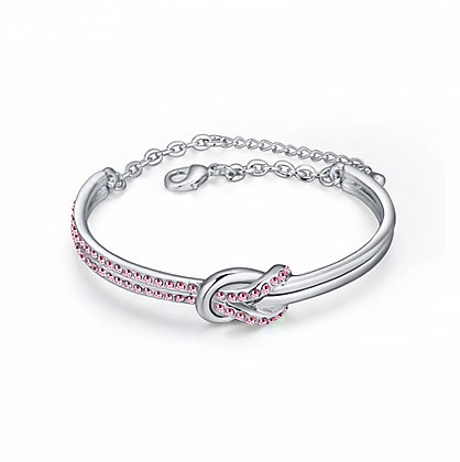 Infinity Bangle Light Rose Crystal Silver