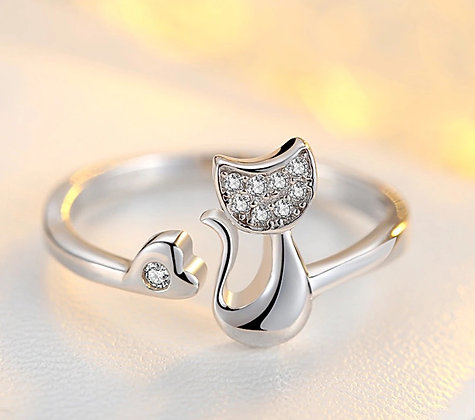 Ring Silver Crystal Cat