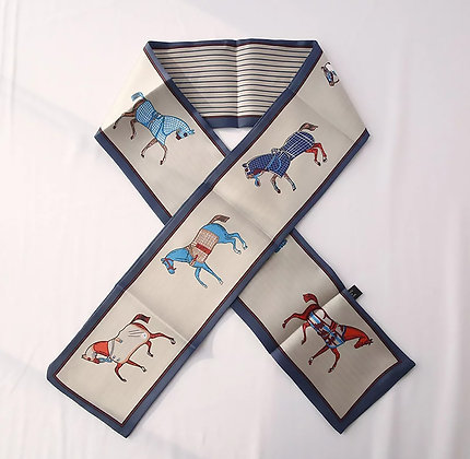 Scarf Blue Horses
