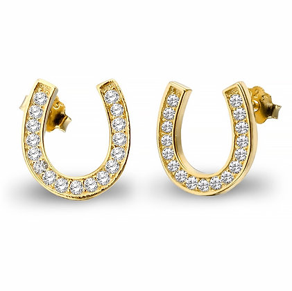 Örhängen Gold Crystal Horseshoe