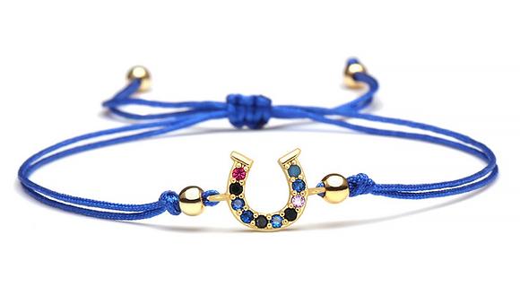 Armband blå hästsko cubic zirkonia