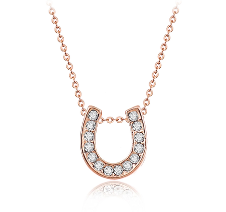 Halsband Rose Gold Crystal Horseshoe
