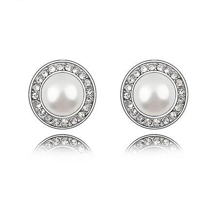 Örhängen White Crystal Swarovski Pearl