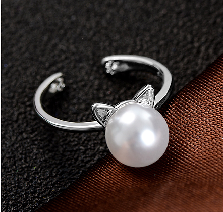 Ring Cat Silver Pearl