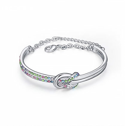 Infinity Bangle Multicolor Crystal Silver