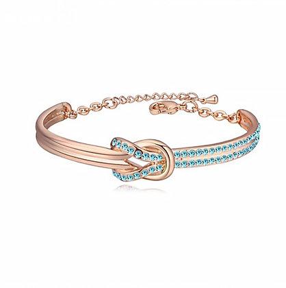 Infinity Bangle Aquamarine Crystal Rose Gold