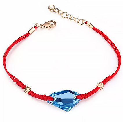 Armband Sea Blue Crystal Red Rope