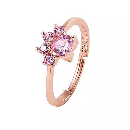 Ring Rose Crystal Gold Paw