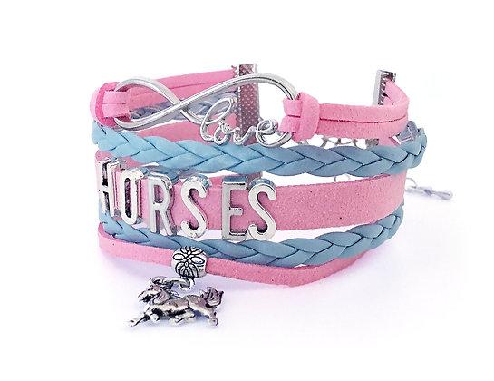 Amband Infinity Love Horses Blue/Rose