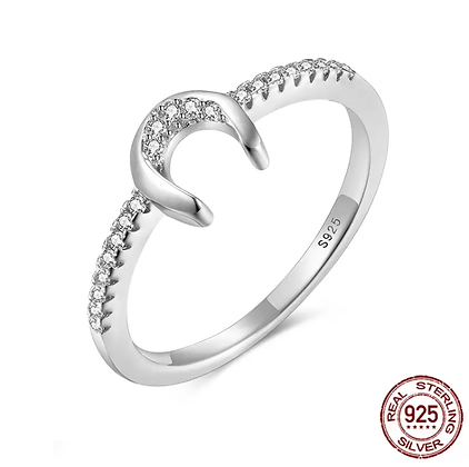 Ring Crystal Horseshoe Silver
