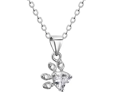 Halsband 925 Sterling White Crystal Silver Paw