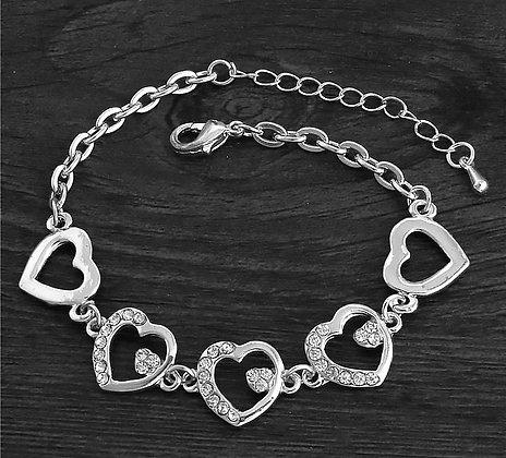Armband Crystal Hearts Silver