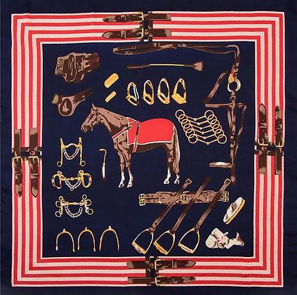 Scarf Navy Horse 70 x 70 cm