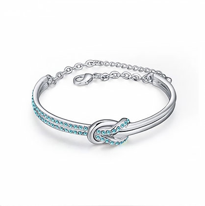 Infinity Bangle Aquamarine Crystal Silver