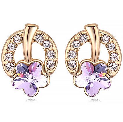 Örhängen Lucky Flower Horseshoe Violet