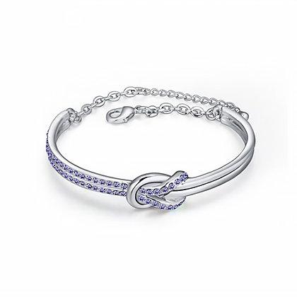 Infinity Bangle Tanzanite Crystal Silver