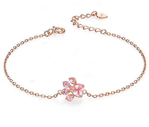 Armband 925 Sterling Rose Crystal Gold Paw
