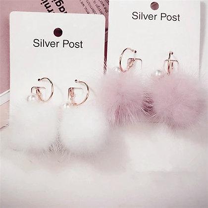 Örhängen Handmade Pink Fur Pom