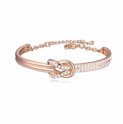 Infinity Bangle Clear Crystal Rose Gold