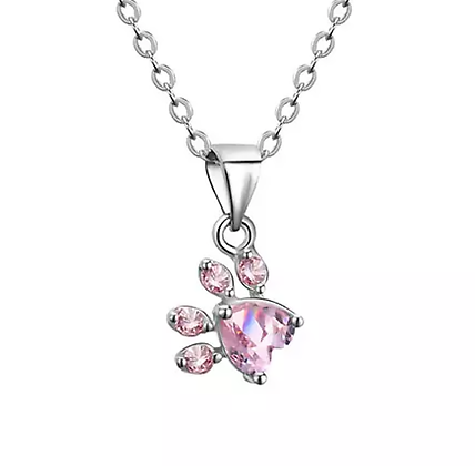Halsband 925 Sterling Rose Crystal Silver Paw