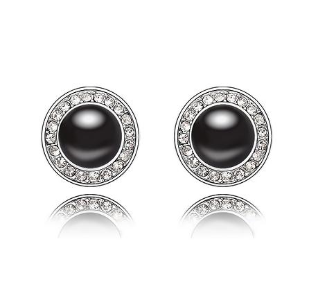 Örhängen Black Crystal Swarovski Pearl