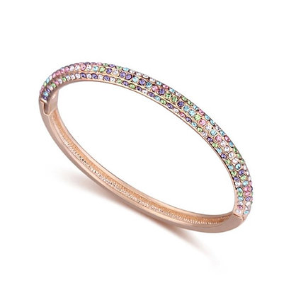 Crystal Bangle Rose Gold Multicolor