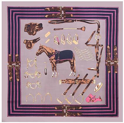 Scarf Tanzanite Horse 70 x 70 cm