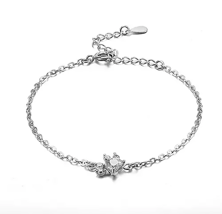 Armband 925 Sterling White Crystal Silver Paw