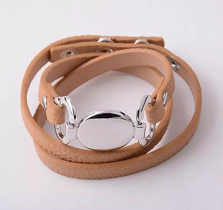 Läderarmband Silver Camel