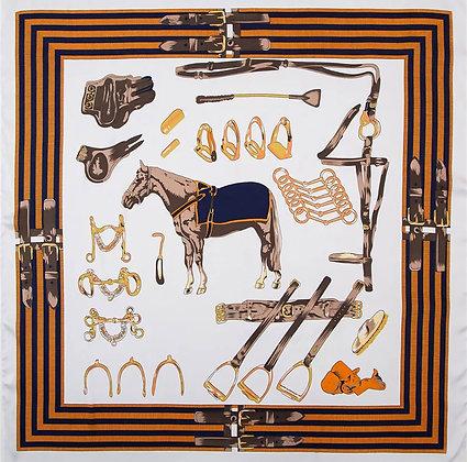 Scarf Khaki Horse 70 x 70 cm
