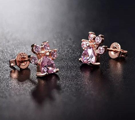 Örhängen 925 Sterling Rose Crystal Gold Paw