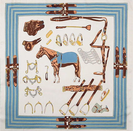 Scarf Sky Blue Horse 70 x 70 cm