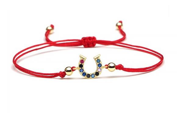 Armband röd hästsko cubic zirkonia
