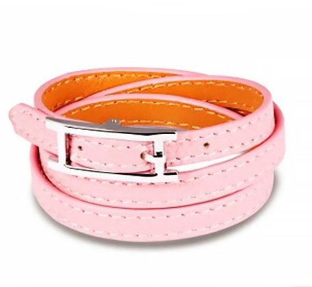 Läderarmband Pink