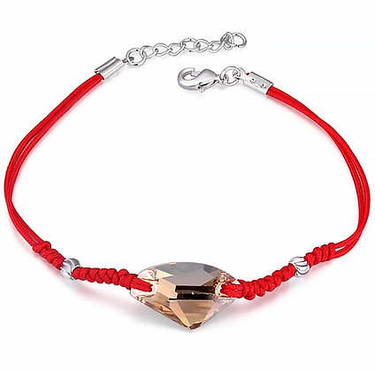 Armband Golden Crystal Red Rope