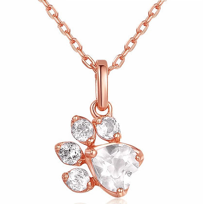 Halsband 925 Sterling White Crystal Rose Gold Paw