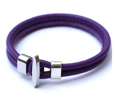 Läderarmband Anchor Lilac