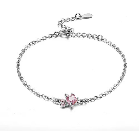 Armband 925 Sterling Rose Crystal Silver Paw