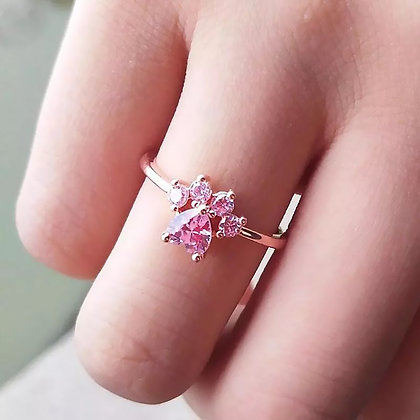 Ring 925 Sterling Rose Crystal Gold Paw