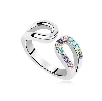 Ring Horseshoe Multicolor Crystal